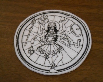 black embroidered Kali iron on patch