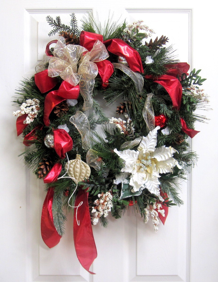Red and White CHRISTMAS WREATH, HOLIDAY Wreath, White Poinsettia Wreath, Door Wreath, Elegant, Ornament Wreath