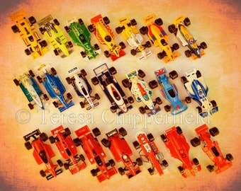 Boys Room Decor, Toy Racecar Photo, Vintage Toy Race Car Print, Large Canvas wrap Photography, Large Nursery Wall Art, Formula One Cars,Kids