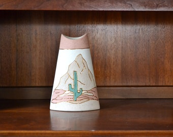 vintage pink and gold ceramic cactus vase