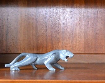 vintage mid-century marble jaguar figurine