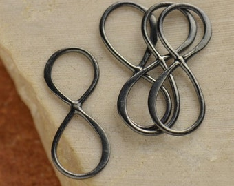 Black Oxidized Sterling Silver Infinity Link.- Figure Eight Charms, Links, Connectors, Love, Sideways Charms