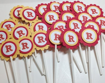 Personalized School or Team Spirit Cupcake Toppers (12)
