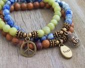 Charmed 3 Stack Stretch Bracelets - Trust Buddha Peace - Yoga Bracelets - gemstone bracelets