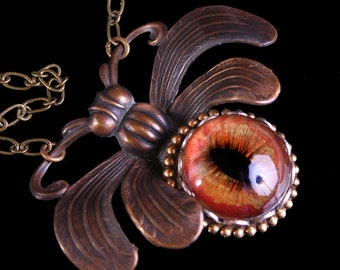 Beetle Necklace Cabinet Of Curiosities Evil Eye Necklace Steampunk Necklace