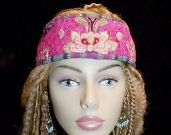 Headband Bright Pink Vintage Velvet Hmong Embroidery Guatemala Weaving Red Green Purple Turquoise Gypsy Peace Headpiece Hair Boho Hippie