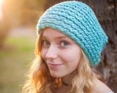 Vegan Bamboo Robin Egg Blue Knitted warm Folk Slouch (Ready to Ship)