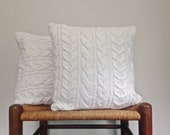 Cable Knit White Sweater Pillow Cover Cotton Nylon Ribbon