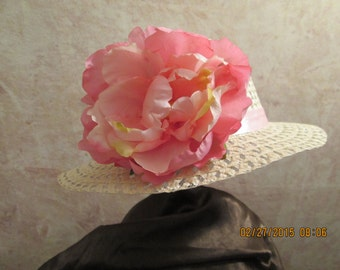 Beige Easter Hat with Peony - Girls Easter Hat - Girls Derby Hat - Girls Tea Party Hat