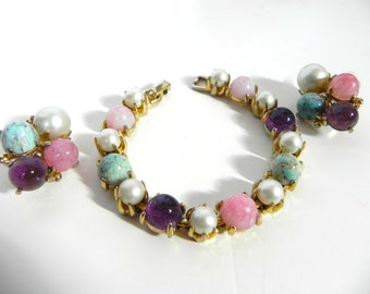 Vintage 50s Bracelet and Earring set Chunky with turquoise quartz amethyst pearl - on sale