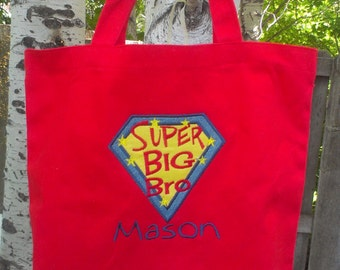 Large Big Brother tote- super hero - personalized at no additional cost