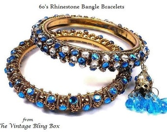 60s Rhinestone Bangle Bracelets with Pave Set Sapphire & Clear Crystals with Tassel Charm - Vintage 60's Set of 2 Gold Costume Jewelry Sets