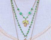 Jada 1 - Vintage Green Upcycled Brooch Necklace