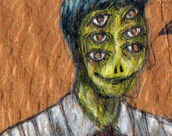 Original drawing: Six Eyes... a mini, monster portrait. not a print, an original artwork drawing.