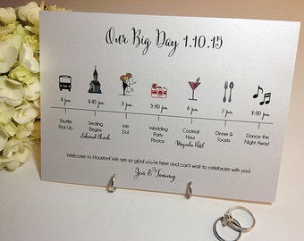 Timeline Card, The Big Day, Wedding Celebration, Guest Itinerary, Info Card, Wedding Party, Guests, Printable Digital, PDF Customized File