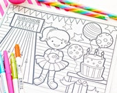 Girly Rainbow Bowling Printable Coloring Page - Printable Coloring Placemat - Printable Party Favors - Rainbow Bowling Party Printables