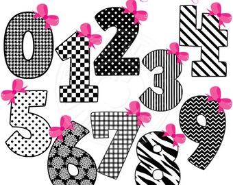 Black & White Diva Numbers Cute Digital Clipart for Invitations, Card Design, Scrapbooking, and Web Design