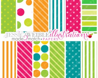 Think Green Cute Digital Papers Backgrounds for Invitations, Card Design, Scrapbooking, and Web Design