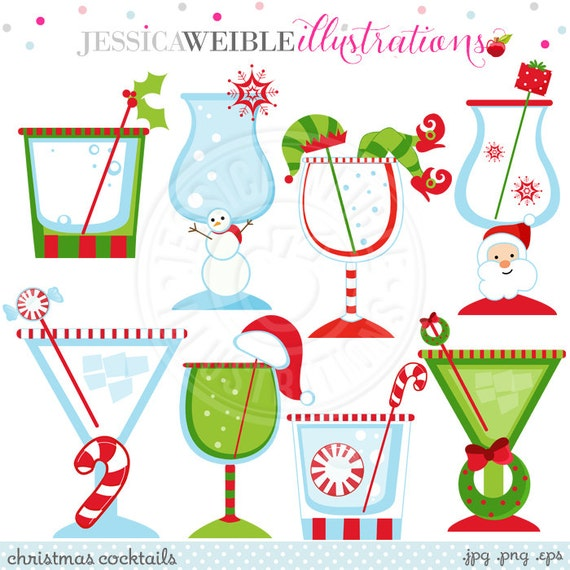 Christmas Cocktails Cute Christmas Digital Clipart Commercial