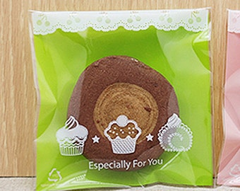 30 Mini Cupcake Self Sealing Cellophane Bags - Green (3.5 x 3.5in)