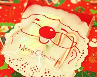 30 Merry Christmas Self Sealing Cellophane Bags - Red Santa (3.8 x 4.3in)