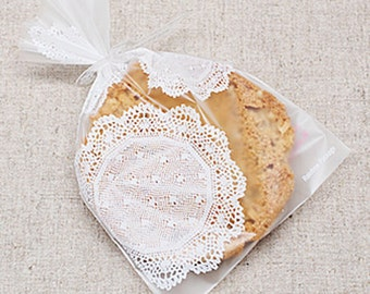 20 White Doily Lace Semitransparent Bags (4.3 x 6.5in)