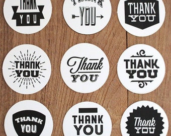 Waterproof Thank You Circle Stickers (2 x 2in)
