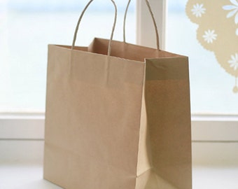 5 Basic Kraft Paper Shopping Bags - Mini size (8.7 x 7.9in)