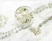 Dandelion necklace, make a wish, mini terrarium jewelry, botanical, gift for bride, good luck charm