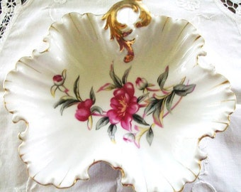 Collectible Porcelain Vintage Scalloped Floral Dish Orchids, Vintage Candy Dish, Nut Dish, Gold Edge and Handle