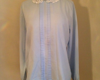 70s blue blouse tuxedo ruffle peter pan collar geek glee SARA