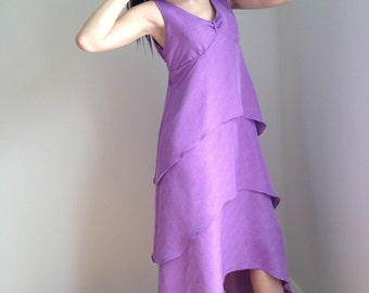 vintage 90s dress/ 1990s sundress / purple plus size sleeveless LOVEBOAT