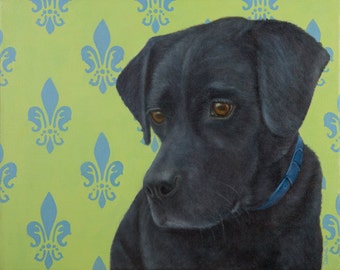 Original Black Lab Painting in Oil - Black Lab Art - Black Labrador Retriever on Green and Blue Fleur de Lis - Benefits Animal Charity