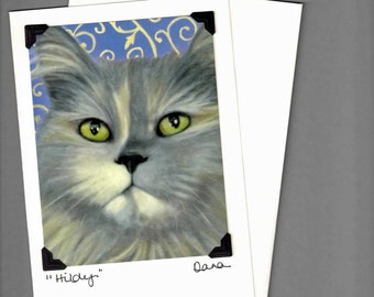 Cat Card - Green Eyed Cat - Long Haired Shelter Cat Card - 10% Benefits Animal Rescue