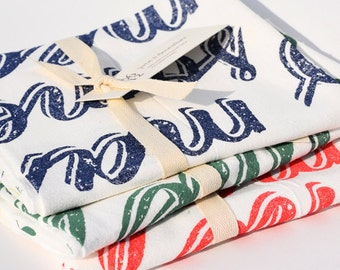 Summer Year Round Towel Set : Set of 3 Flour Sack Kitchen Tea Towels for the Home