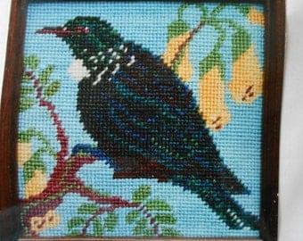 New Zealand Mohair Needlework Kit Tui and Kowhai Birds  crewel/embroidery/wool