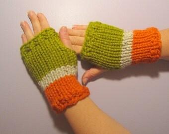 Fingerless Gloves - Orange and Green Hand Knit Fingerless Gloves