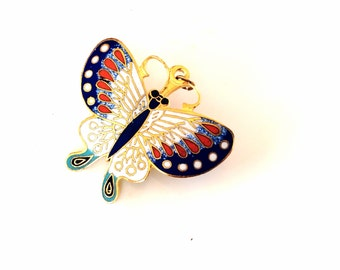 Vintage antique butterfly brooch cloisonné blue and white butterfly pin gold tone metal