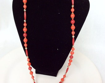 Nice red necklace true vintage long retro classic beaded plastic necklace