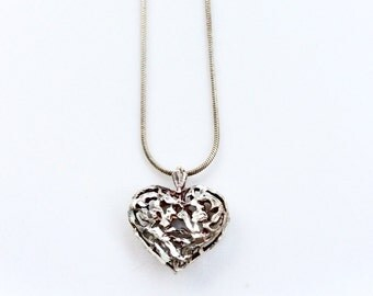 vintage heart necklace sterling silver pendant and chain necklace silver 925