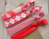 Elastic Hair Ties - Red and White - Set of four - FOE