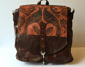 "Large Leather  Convertible Backpack in Double Bird Print "" The Lauren 2.0"""