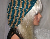 Crochet Womens Teens Teal Brown Chenille Slouchy Hat Beret Slouch Hat