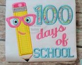 100 Days of School Pencil applique embroidery design