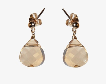 Gold Filled Earrings With Champagne Drop Shaped Swarovski Crystal