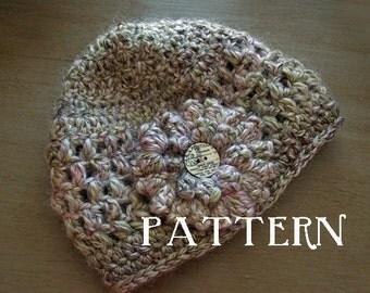 Evie Beanie PDF Pattern Crochet Hat in multiple sizes Knit Crochet Flower