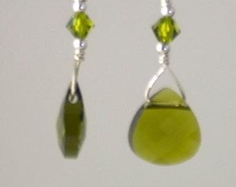 Swarovski Briolette Olivine Green Crystal Earrings Sterling Silver, Bridesmaid's Earrings, Crystal Earrings, dangle sparkly earrings