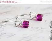 ON SALE Heart Drop Earrings, Sterling Silver, Neon Pink Swarovski Crystal, Modern, Love, Valentines Day Gift, Bridal, Bridal Party, Weddings
