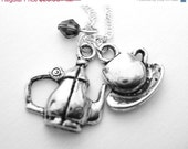 Personalized Birthstone Tea Pot Necklace - Sterling Silver Tea Cup Jewelry - Teacup Teapot Jewelry