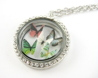 Personalized Birthstone Necklace - Mother Jewelry - Floating Locket Necklace Silver - Pendant Long Birthstone Charm Jewelry